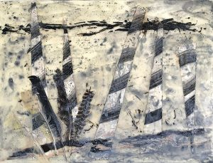 Your path is free to walk, encaustic mixed media on clay board, 46 x 61cm
