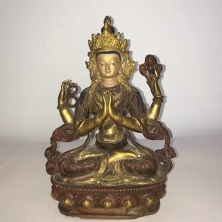 4 Handed Buddha (Tibet), brass, 22 x 15cm