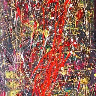 Cosmic Orgasmic 2, mixed media on canvas, 45.5 x 91cm