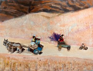 On the road with mad max, mixed media on wood, 46 x 61cm