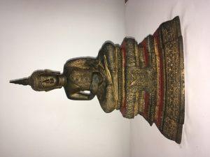 Seated buddha, brass & gold leaf copy