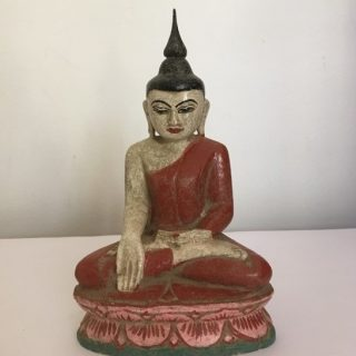 Seated Buddha in Red Robe (Myanmar), wood, 26 x 15cm