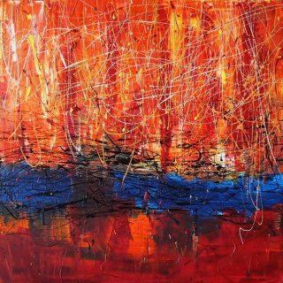 Slow Burning, mixed media on canvas, 76 x 76cm