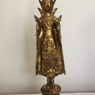 Standing Crowned Buddha 1 (Thailand), brass & gold leaf, 45 x 12cm