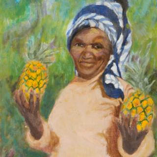 Woman selling pineapples, oil on linen, 91 x 65 cm jpg