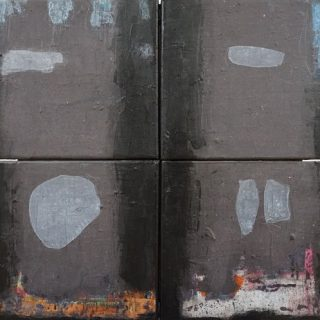 Four Ghosts, acrylic and mixed media on four panels of 25 x 30cm