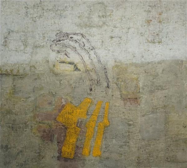Triad, acrylic and mixed media on canvas, 135 x 150cm