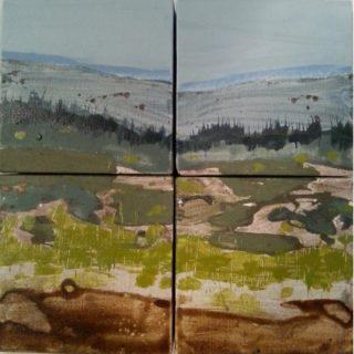 Vantage Point, acrylic & mixed media on canvas, 4 panels of 13 x 13cm each