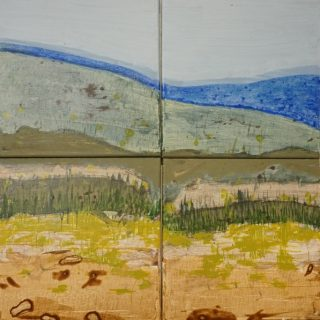 Vantage Point, acrylic & mixed media on canvas, 4 panels of 30 x 30 cm each