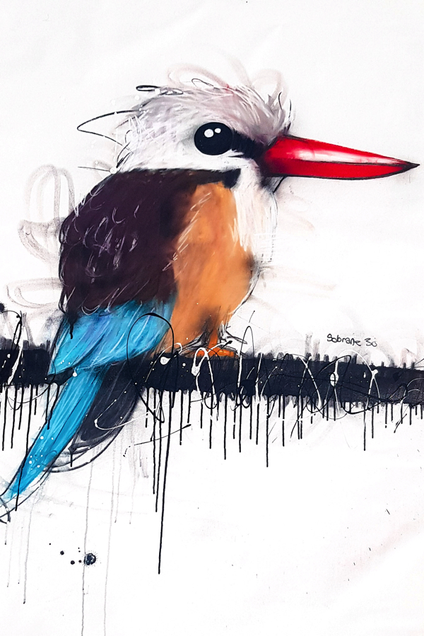 Azure Kingfisher, mixed media on canvas, 120 x 87cm