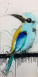 Blue bird roller, mixed media on canvas, 102 x 51cm