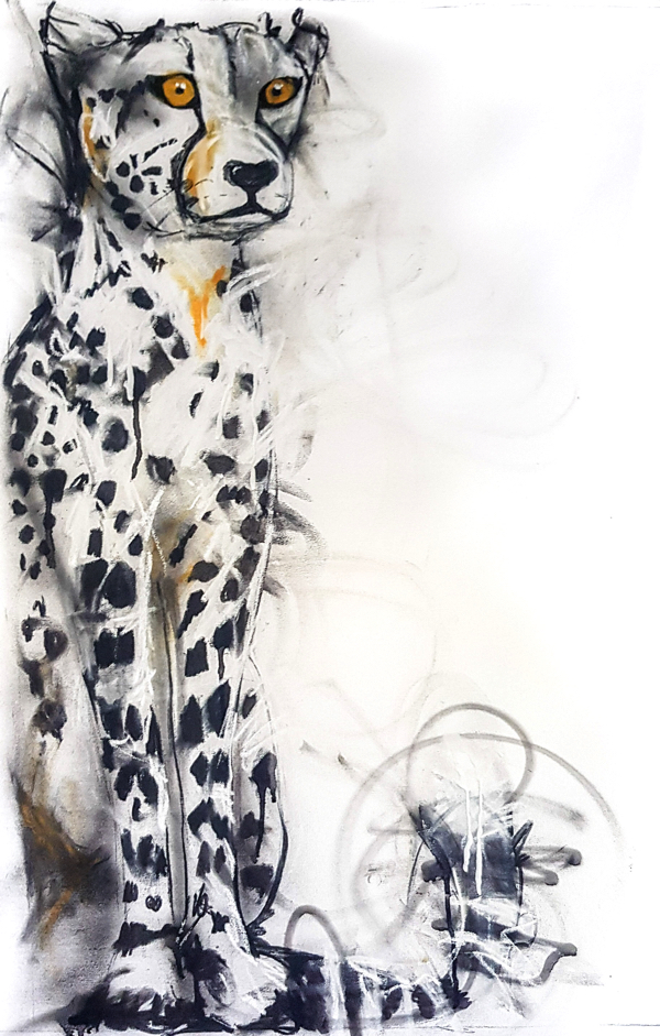 Cheetah, mixed media on canvas, 90 x 60cm