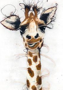 Giraffa, mixed media on canvas, 120 x 60cm