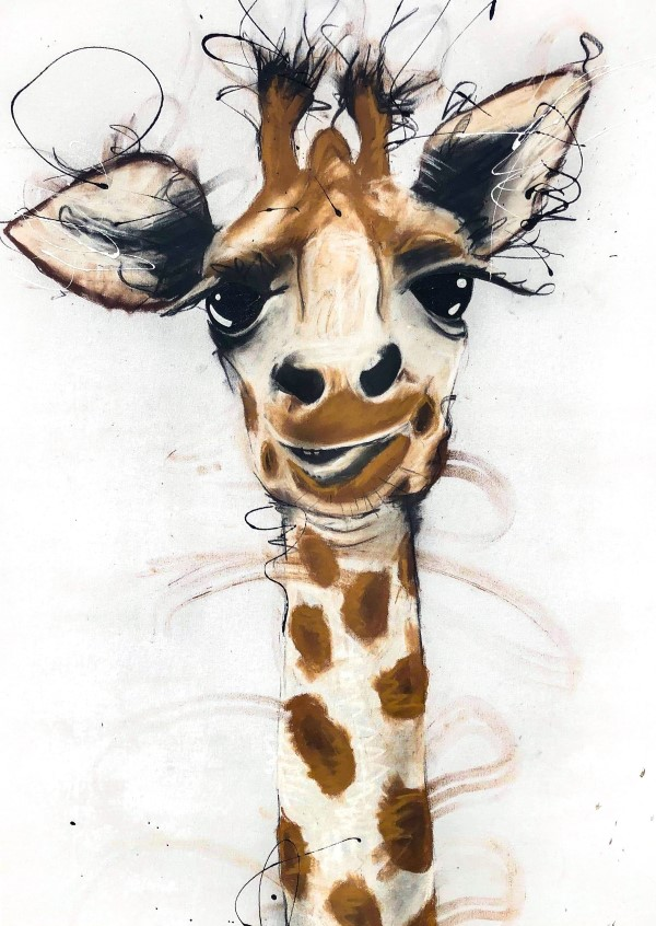Giraffa, mixed media on canvas, 140 x 80cm