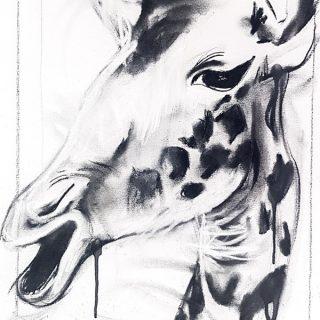 Giraffe I, mixed media on canvas, 60 x 40cm