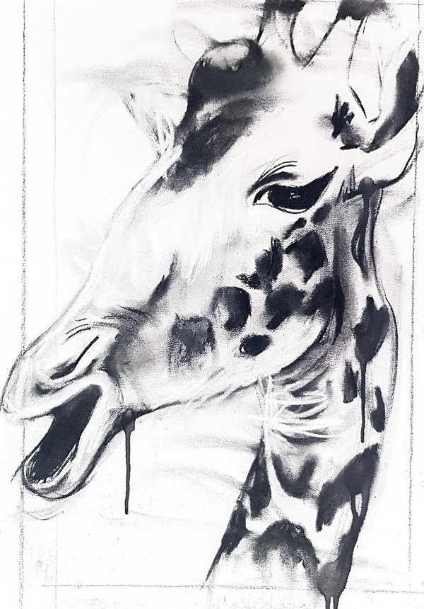 Giraffe I, mixed media on canvas, 60 x 42cm