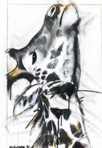 Giraffe ii mixed media on canvas, 60 x 45 cm