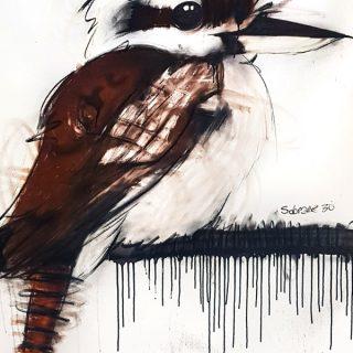 Kookaburra, mixed media on canvas, 120 x 100cm