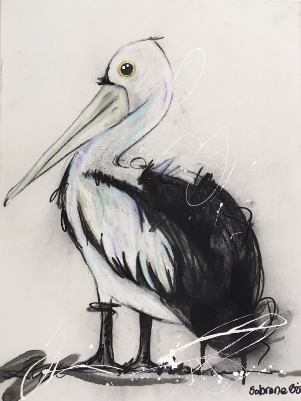 Pelican, mixed media on canvas, 41 x 51cm