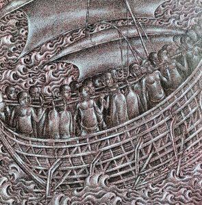 Pig ship, ink & acrylic on canvas,50 x 50cm