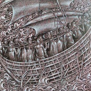 Pig Ship, ink & acrylic on canvas, 50 x 50cm