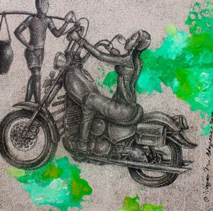 Princess rider, ink & acrylic on canvas, 50 x 50cm