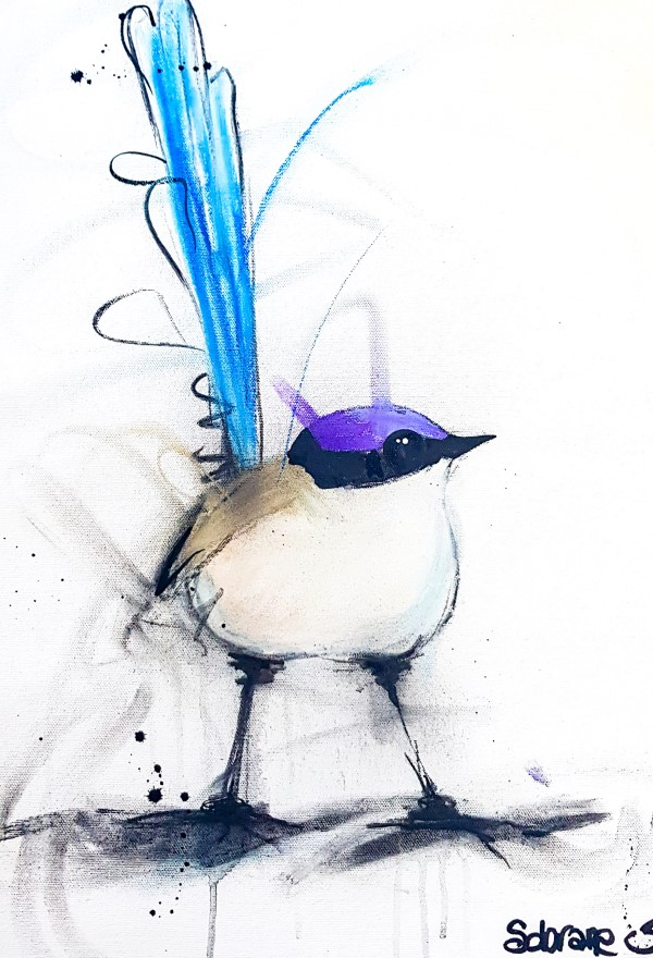 Purple crown fairy wren III, mixed media on canvas 71 x 55cm
