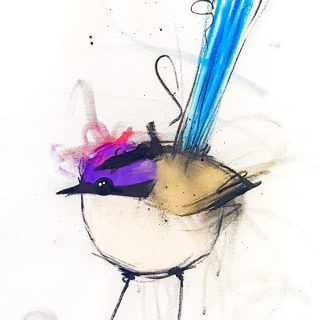 Purple Crowned Fairy Wren I, mixed media on canvas, 65 x 50cm