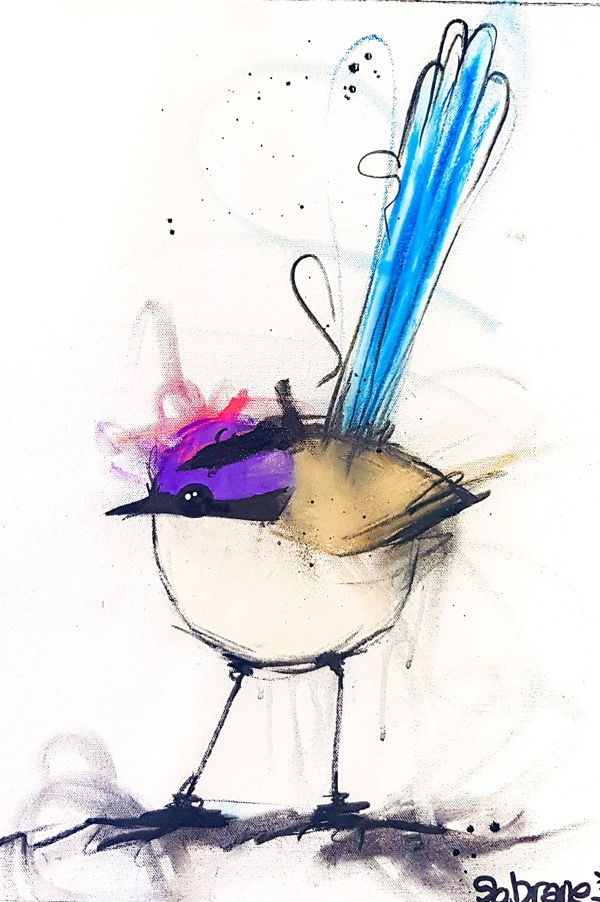 Purple Crowned Fairy Wren I, mixed media on canvas, 71 x 55cm