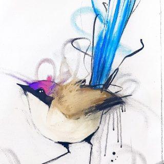 Purple Crowned Fairy Wren II, mixed media on canvas, 65 x 50cm