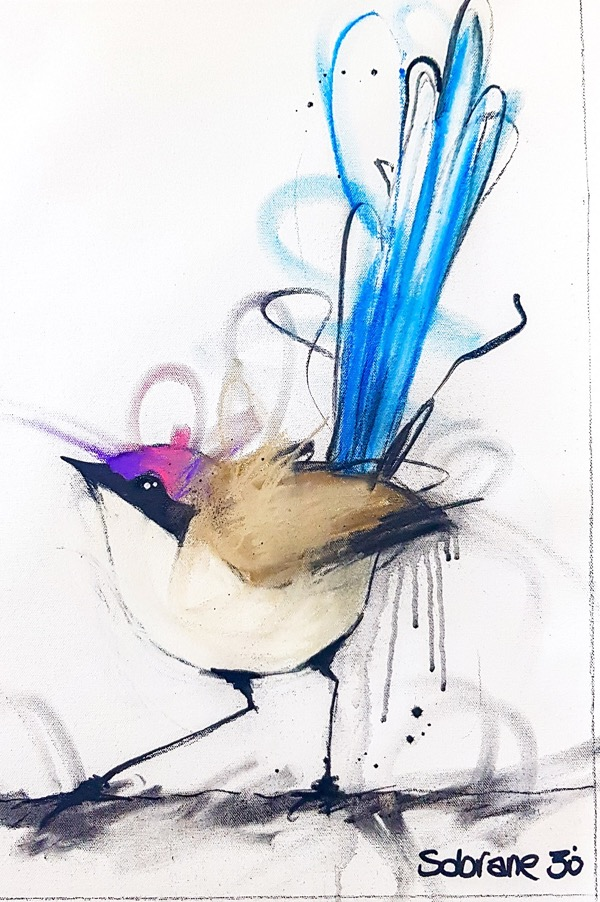Purple Crowned Fairy Wren II, mixed media on canvas, 71 x 55cm