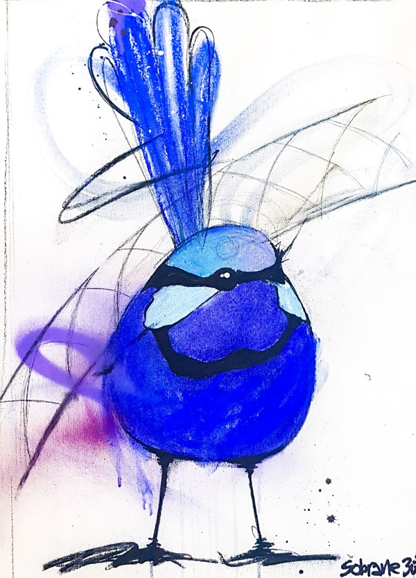 Splendid blue wren I, mixed media on canvas, 52 x 38cm,