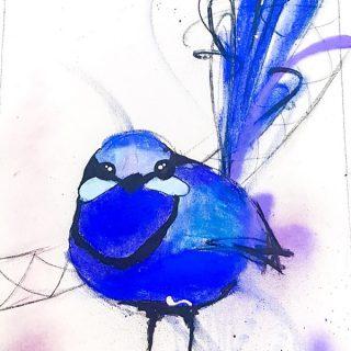 Splendid Blue Wren I, mixed media on canvas, 65 x 50cm