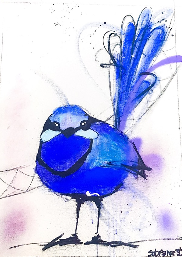 Splendid Blue Wren IV, mixed media on canvas, 52 x 38cm