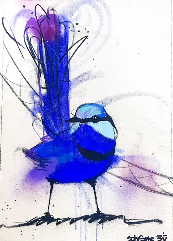 Splendid Blue Wren III, mixed media on canvas, 52 x 38cm