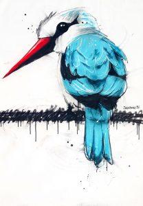 Woodland kingfisher, mixed media on canvas, 120 x100cm