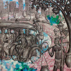 Yogyakarta chapter, ink & acrylic on canvas, 80 x 80cm