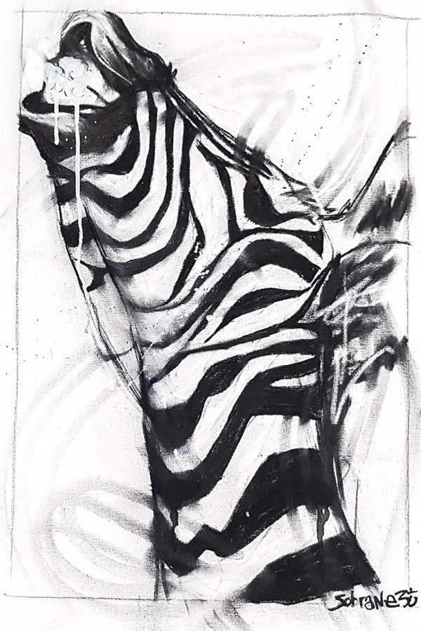 Zebra I, mixed media on canvas, 77 x 54cm (incl frame)