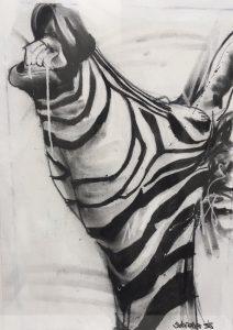 Zebra ii, mixed media on canvas, 60 x 40cm