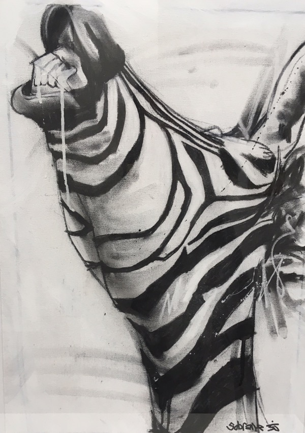 Zebra II, mixed media on canvas, 77 x 54cm (incl frame)