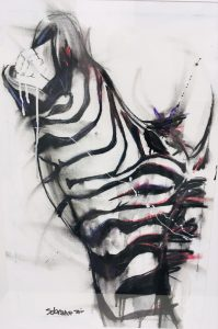 Zebra iii, mixed media on canvas, 60 x 40cm