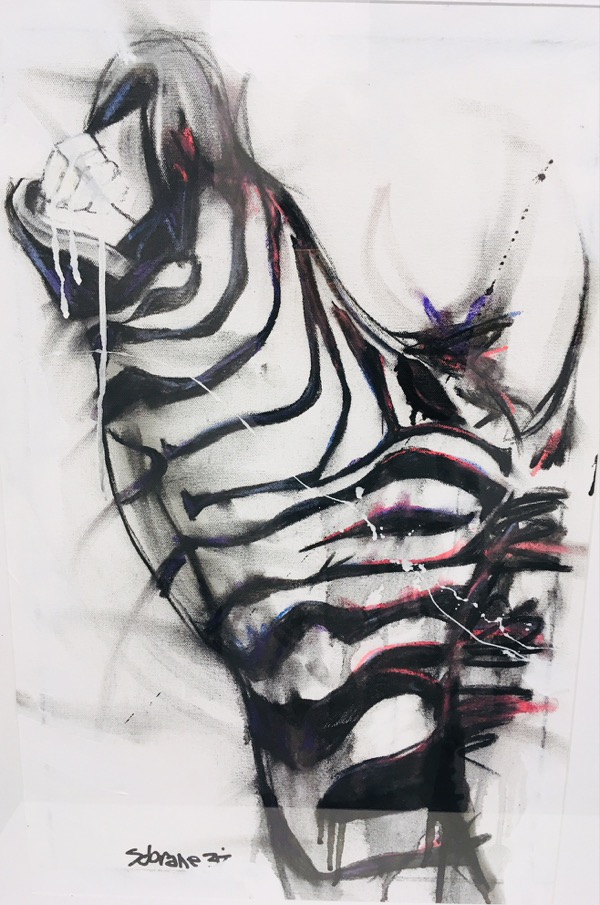 Zebra III, mixed media on canvas, 77 x 54cm (incl frame)