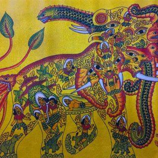 Elephant by sandav, gold leaf and acrylic on cotton, 53 x 63cm