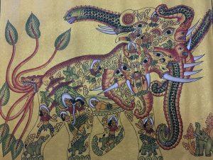 Elephant, gold leaf and acrylic on cotton, 53 x 63cm