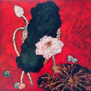 Lotus 1, lacquer on wood, 90 x 90cm