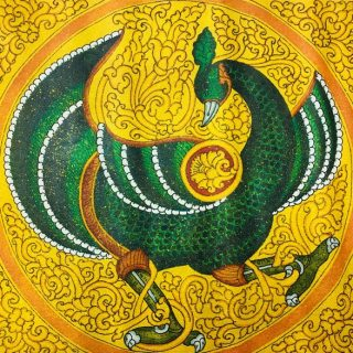 Peacock by sandav, gold leaf and acrilic on cotton, 50 x 61cm
