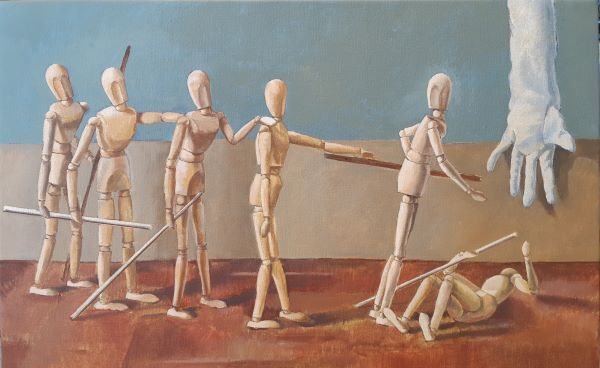 The blind leading the blind,oil on canvas,50x76cm