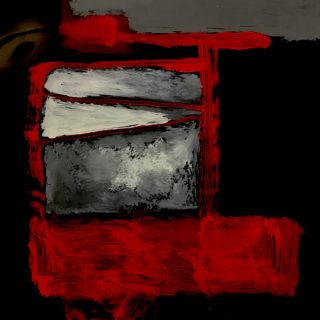 Inside out #35 acrylic on x ray film, 57 x 48cm (incl frame)