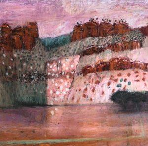 Morning moon, constance range, pastel on paper, 60 x 60cm