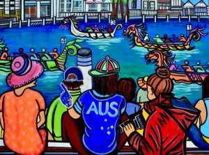The excitement of dragon boat racing, mixed media on canvas, 122 x 92cm